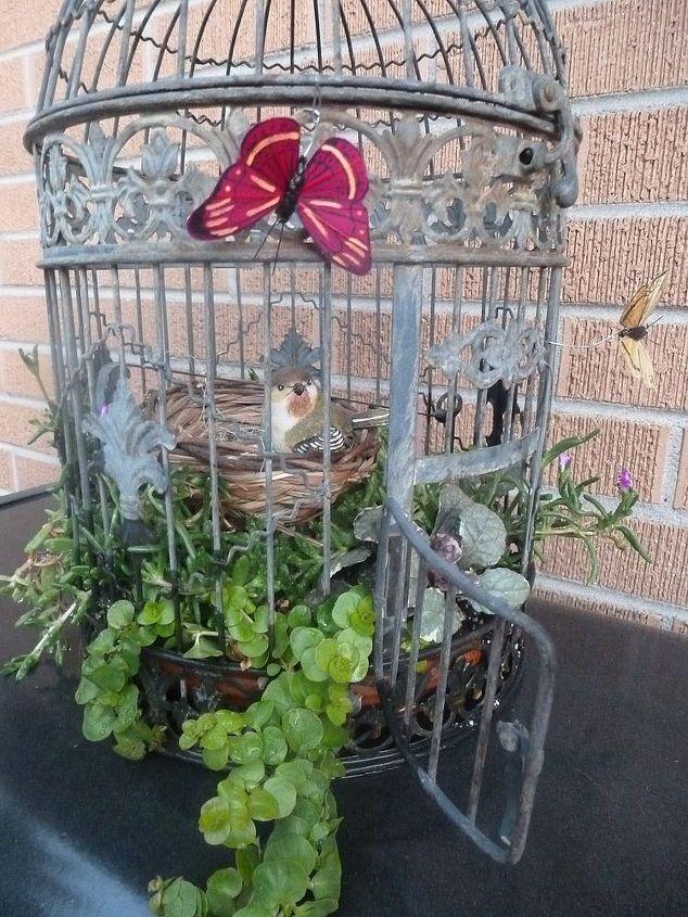 fairy birdbath garden, gardening