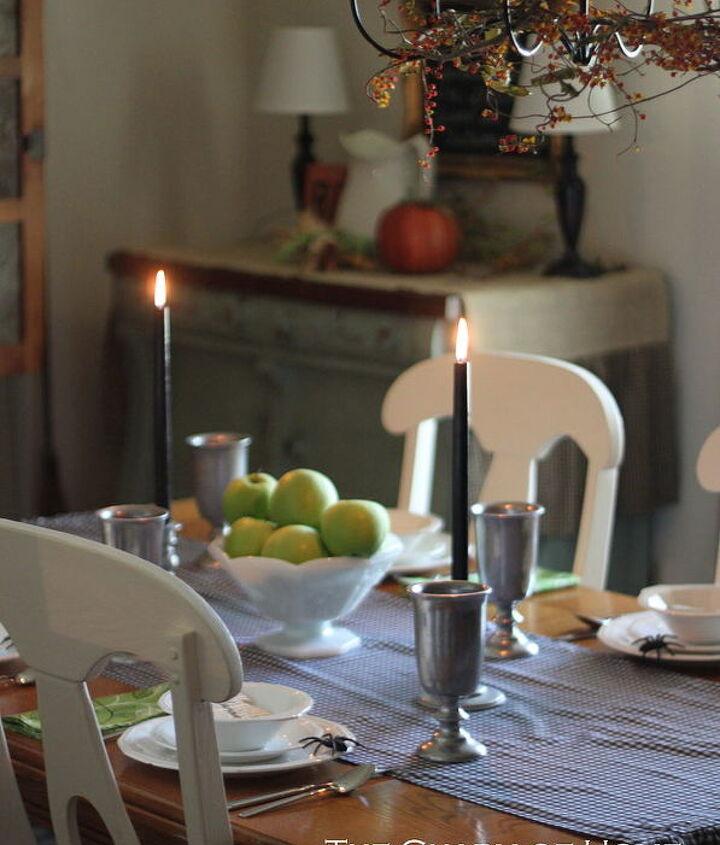 farmhouse halloween dining room, dining room ideas, halloween decorations, seasonal holiday decor