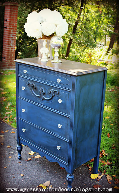 Napoleonic Blue Chalk Paint ® topped in clear and dark wax.