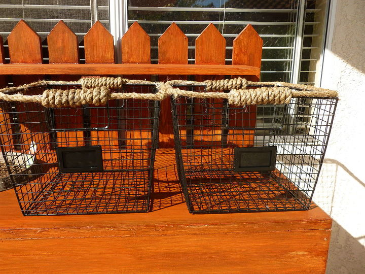 Wire baskets were added for organization and embellished with rope.