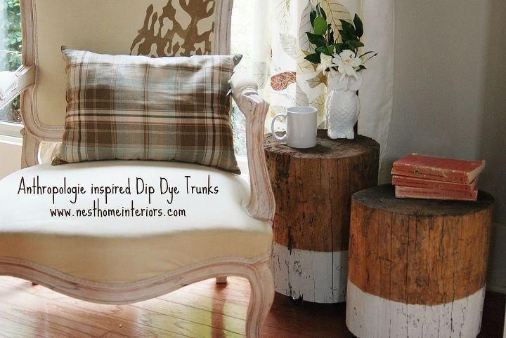 dip dye stump table, painted furniture, repurposing upcycling