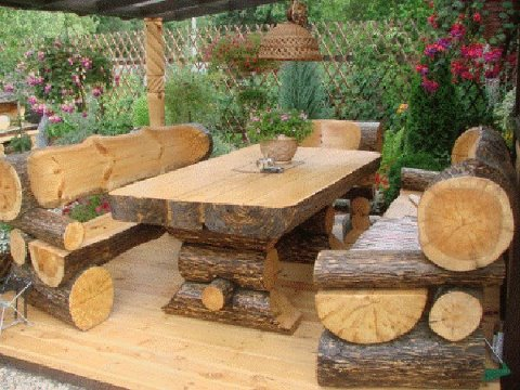log picnic table amp benches, outdoor furniture, outdoor living, painted furniture
