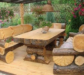 Superb Log Picnic Table Amp Benches, Outdoor Furniture, Outdoor Living, Painted  Furniture