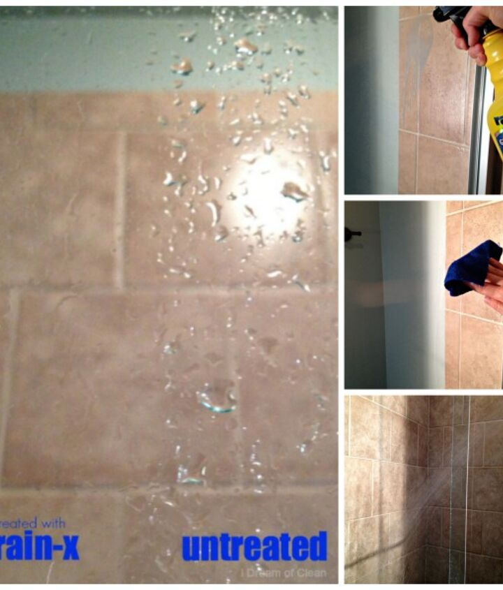 This side-by-side comparison shows the difference Rain-x made on my glass shower door.