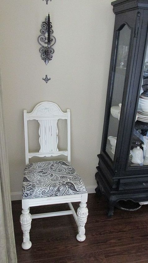 AFTER: On two of the chairs I used a black & white paisley. I love paisley...it just says FUN.
