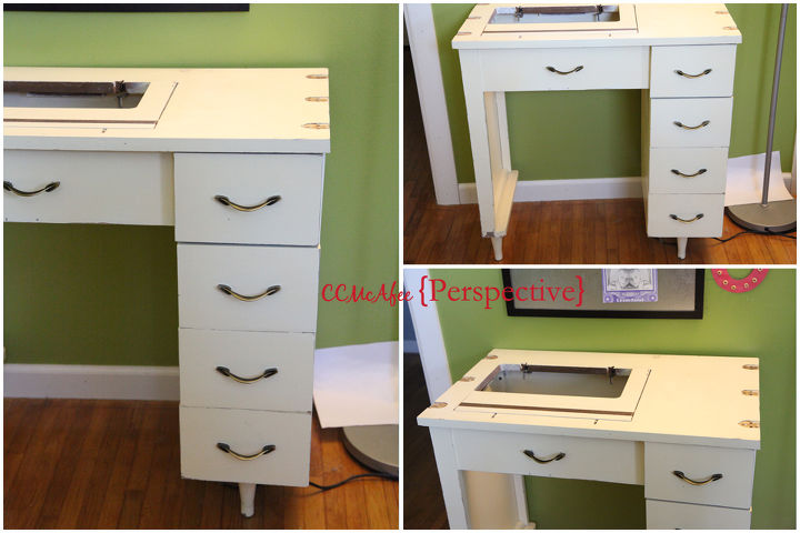 Here is the little sewing desk found on the side of the road.  I painted it and added new hardware.