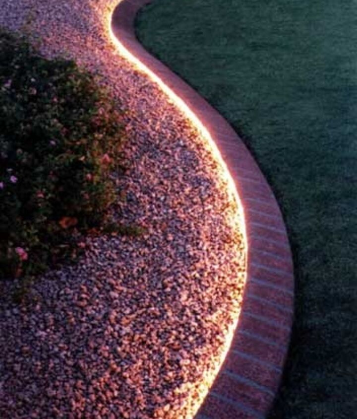 Rope light makes great borders for gardens and flower beds.