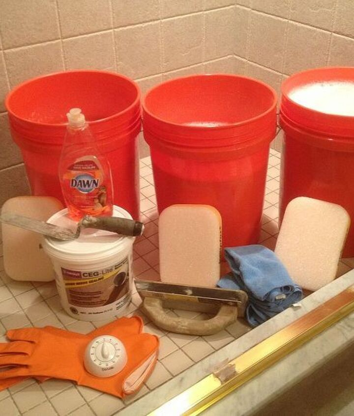 Make sure to get all your supplies together before starting with epoxy grout.