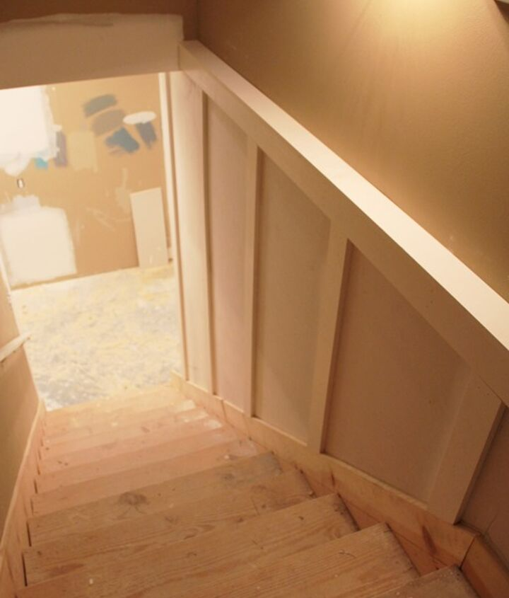 more pictures of basement remodel we ripped up the old carpet and painted the, home decor, stairs