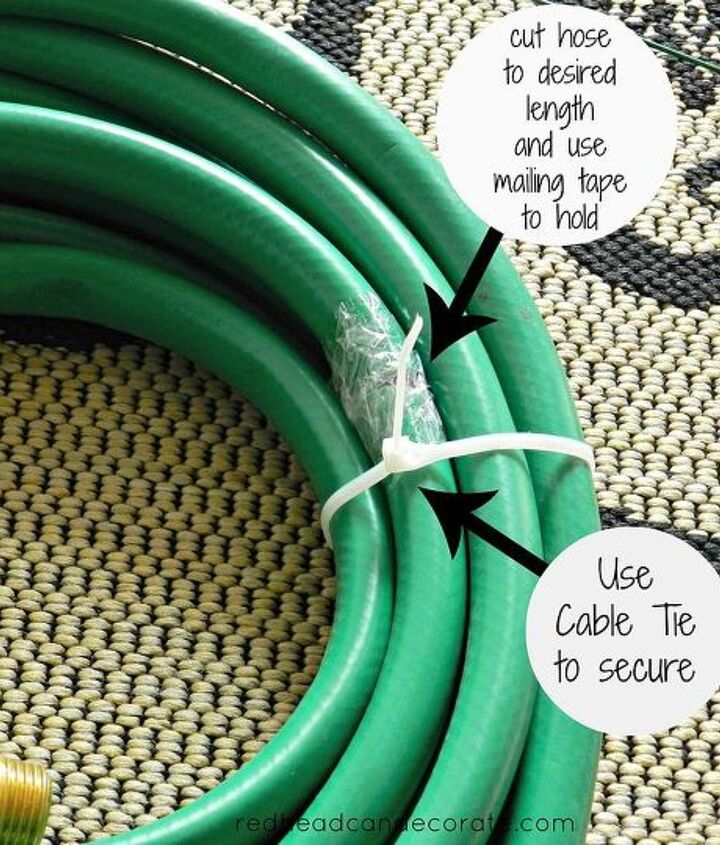Very simple tutorial.  Our hose was way too large.  I used kitchen scissors to cut out the center section leaving enough to still have a wreath left. I then taped the ends with mailing tape and secured the entire hose with a cable tie.