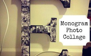 diy monogram photo collage, crafts