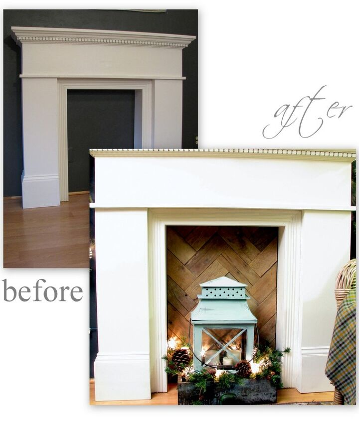 """before and after. Rustic pallet wood warms up a cold 'fire box"""""""
