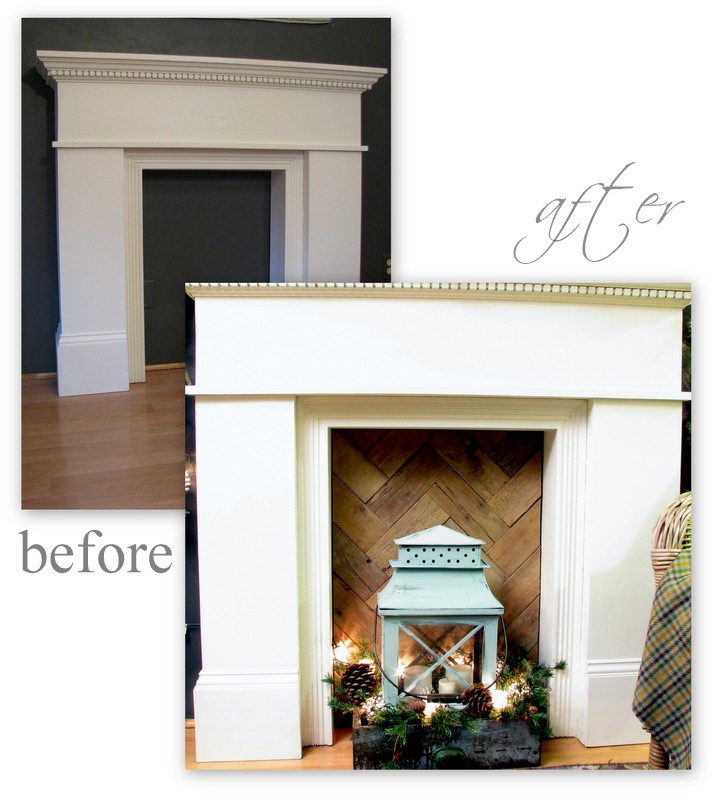 before and after. Rustic pallet wood warms up a cold 'fire box""
