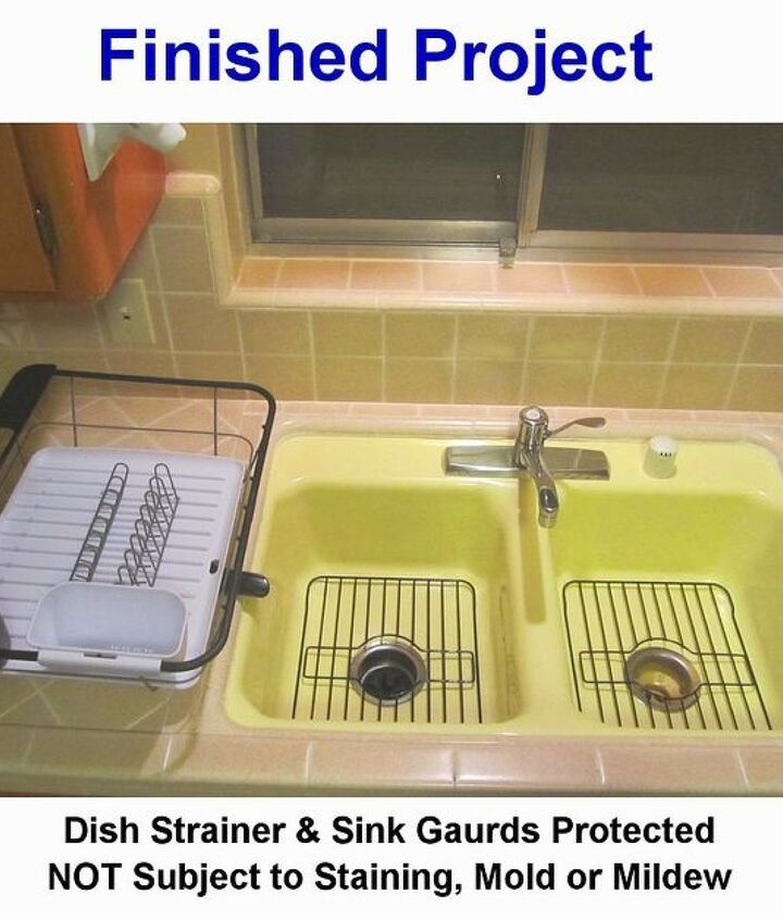 After Protective Coating: I coated the NEW dish strainer and sink gaurds with Self-Cleen ST3 to resist bacteria, mold and mildew grow - as well as staining. I Love my kitchen sink again!