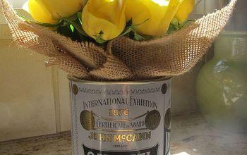 Oatmeal Tin & Burlap Vase