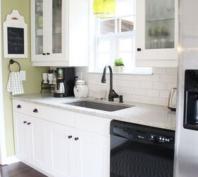 Adel White Shaker Cabinets From Ikea, With Creamy White Subway Tile And  Gray Grout.