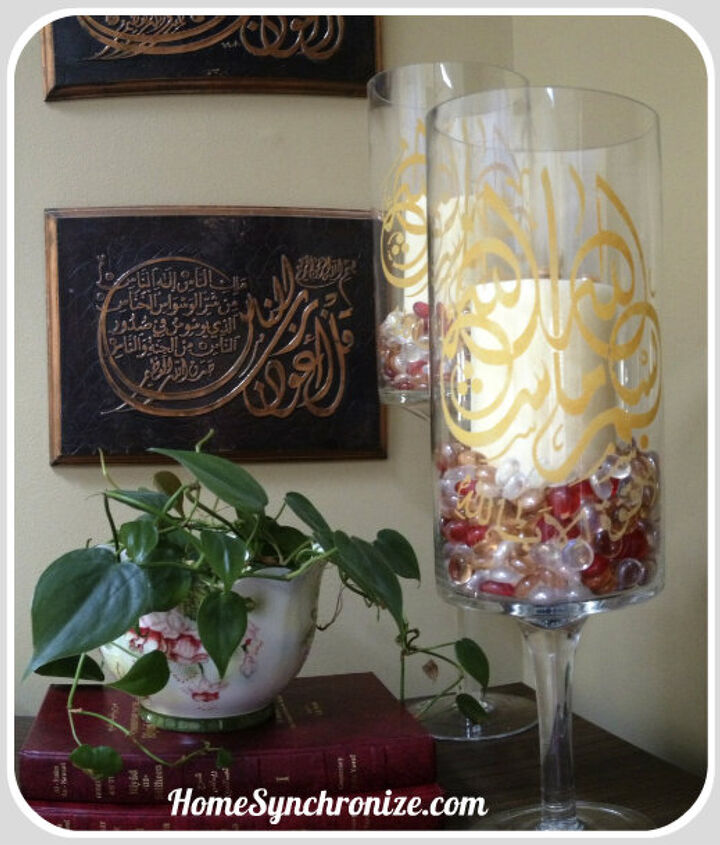 hurricane candle holders etched with islamic calligraphy, crafts