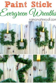 paint stick evergreen wreaths, crafts, seasonal holiday decor, After the wreaths were completed I hung them with a simple strand of ribbon