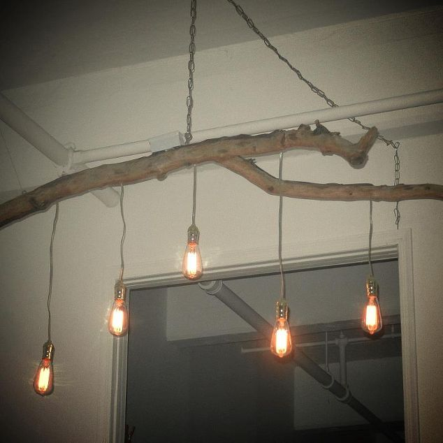 Unique chandelier crafted from a fallen branch and edison style unique chandelier crafted from a fallen branch and edison style lights lighting repurposing upcycling mozeypictures Image collections