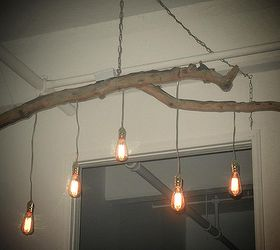 Unique Chandelier Crafted From A Fallen Branch And Edison Style Lights,  Lighting, Repurposing Upcycling