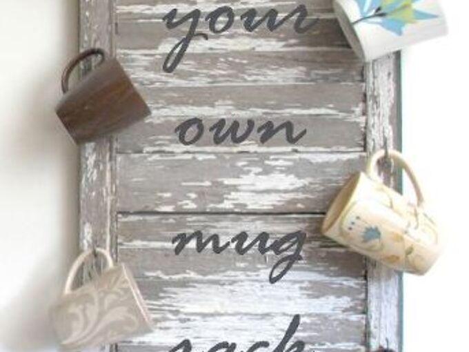 re purposed shutter mug rack, repurposing upcycling, storage ideas, Make your own Mug Rack