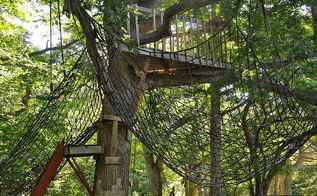 inexpensive alternative to playground equipment, outdoor living, We hung the cargo net below a tree house we had already built