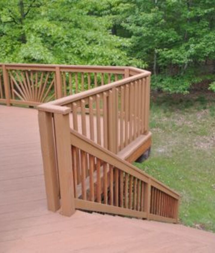 "The deck almost looks like composite now. Rust-Oleum has lots of different colors to choose from, and we selected ""Saddle""."