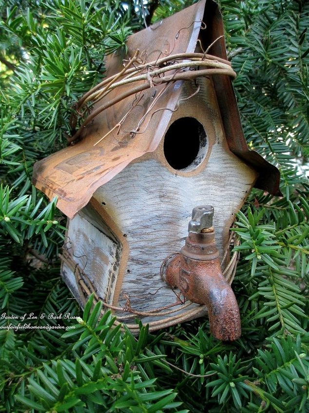 New birdhouse with faucet handle