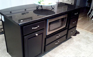 kitchen island makeover duck egg blue chalk paint, chalk paint, kitchen design, kitchen island, painted furniture, I decided to paint it black last year Sherwin Williams Tricorn Black 6258 latex