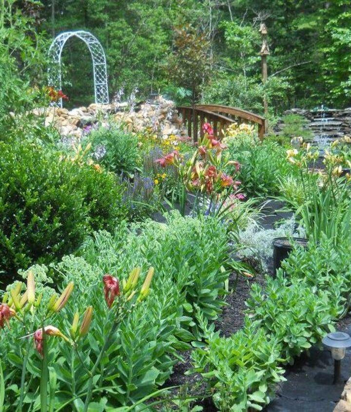 surrounding flower beds