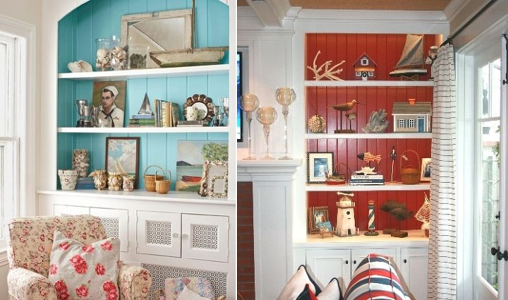 The easiest way to bring color to a wall without painting it, is by painting the back of a bookcase instead!