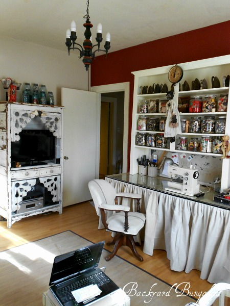 This is my work space.  I do everything in here, including painting and waxing furniture!
