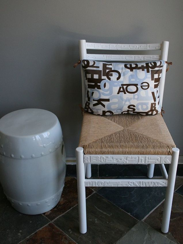 fabulous finds of the week which do you want to try, chalkboard paint, crafts, painted furniture, This is the ABC Chair by The DIY Showoff I m a HUGE fan She made this chair for her mudroom What you need Old wooden chair sanded primer canvas alphabet stickers spray paint and a coordinating pillow She has the full tutorial here
