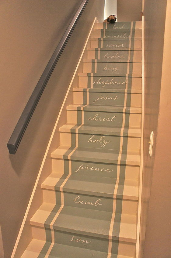 Completed stairway makeover by Bella Tucker Decorative Finishes Nashville TN