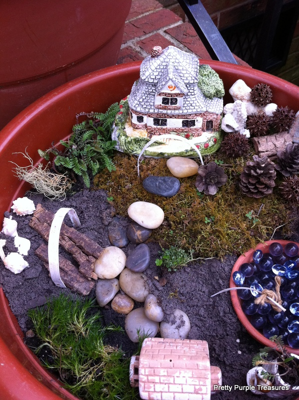 fairy garden with my kids and thrift store junk, crafts, gardening