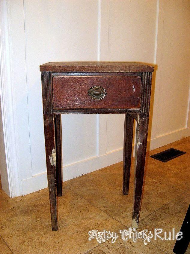 Wonderful Antique Side Table, Renewed W/Annie Sloan Chalk Paint & Graphics  OC61
