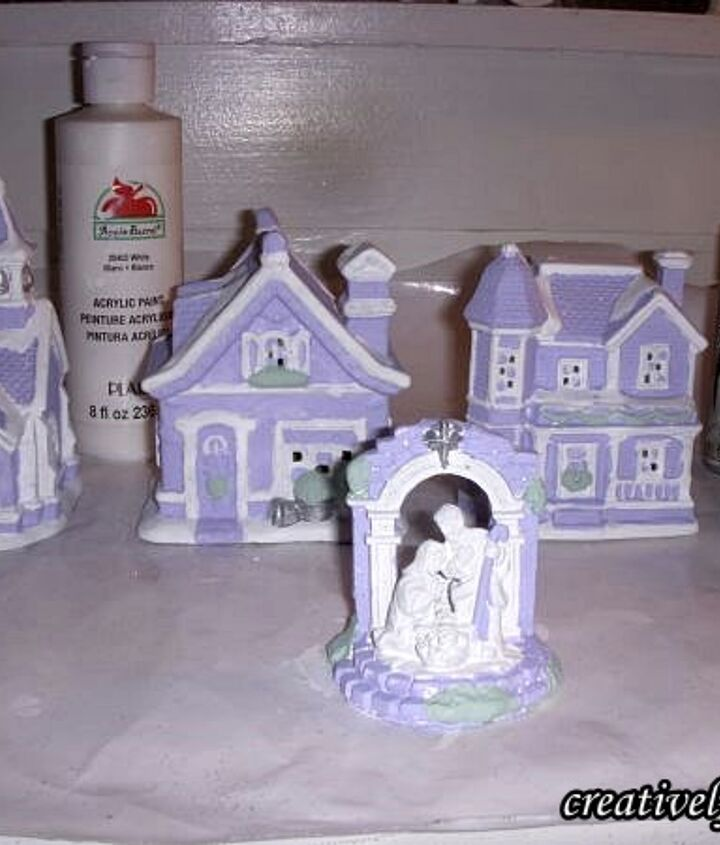 Paint the houses... I used Lilac acrylic paint... you can use any color you like.