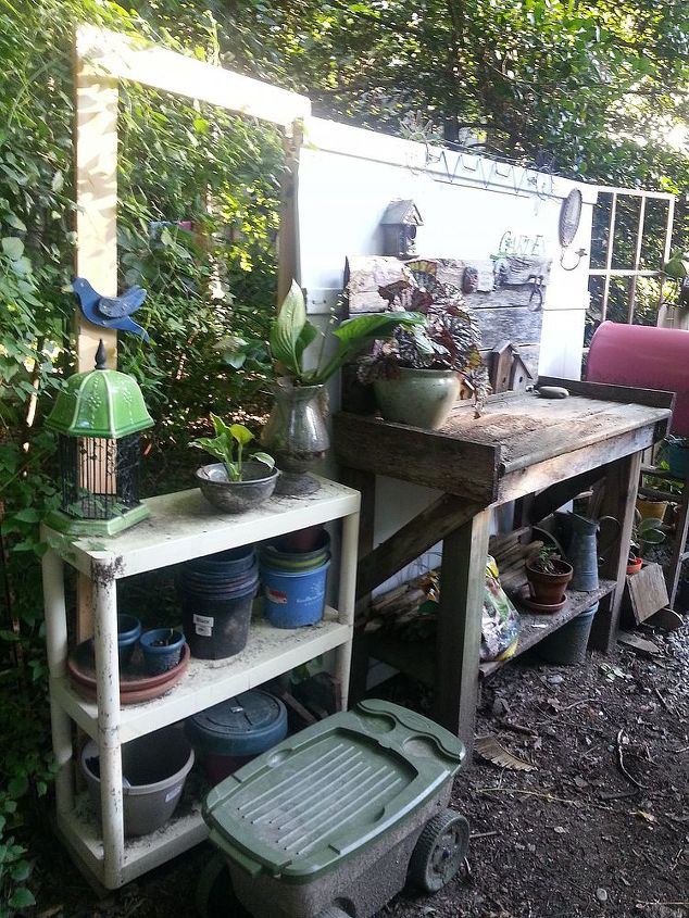 Plastic shelves are working out great to store plastic pots for plants that I nurse back or find along the way...