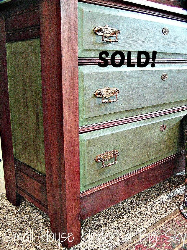 This dresser features CeCe Caldwell's Michigan Pine chalk paint and dark walnut stain. The entire piece is sealed using Annie Sloan wax.