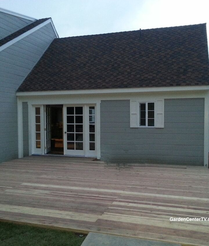 """This is the """"before"""" photo of the deck I was assigned to beautify."""