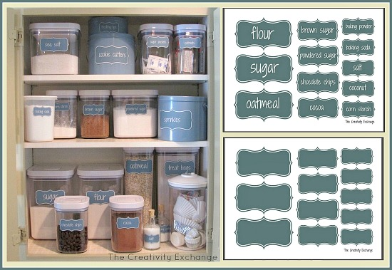 create an organized baking cabinet with free printable labels, organizing, Free printable labels to help organize a pretty baking cabinet