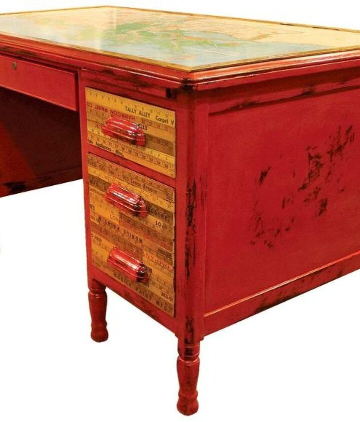 Louisiana Map & Vintage Yardstick Overhauled Red Writing Desk by GadgetSponge.com