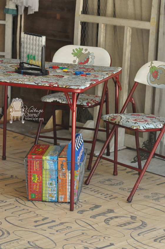 Old card table recreated to a fun game table!!