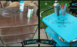 vintage cosco rolling cart turned mad men mod cocktail cart, painted furniture