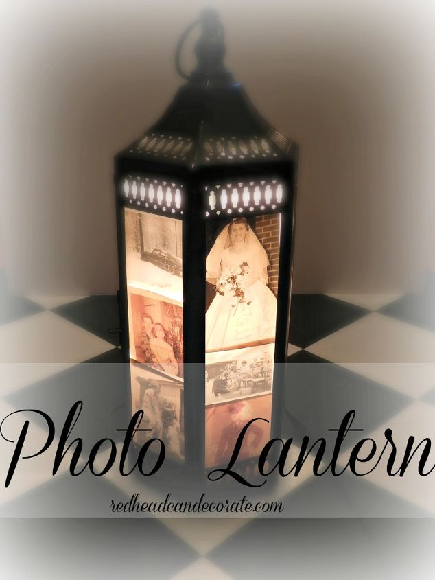 photo lantern, crafts, lighting, I taped the photos to the glass