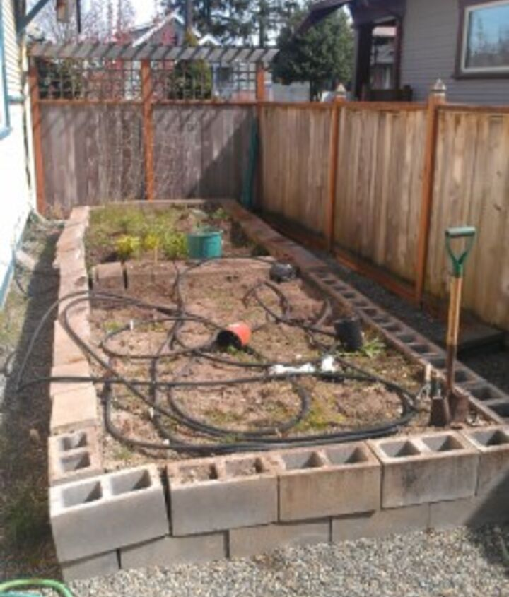 This is what our Garden looked like before we removed the blocks, falling apart..now, what do we do with them???
