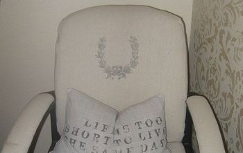 giving an ugly office chair a new life, painted furniture, After some painters cloth and stenciling it has a new life