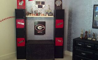 lockers redone for boys room, crafts, storage ideas, Poor cell phone pic