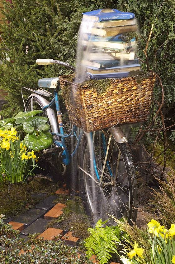 """Bicycle fountain commissioned for the 2012 MD Home and Garden Show """"Books in Bloom""""."""