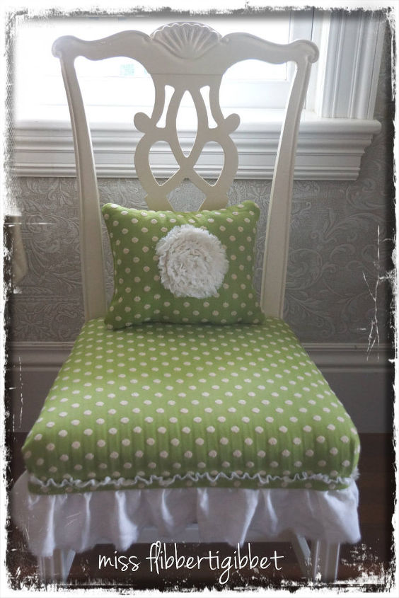 some projects, chalk paint, crafts, doors, painted furniture, Ordinary dining room chair I redid with creamy white paint an upholstered seat linen ruffle and little matching pillow